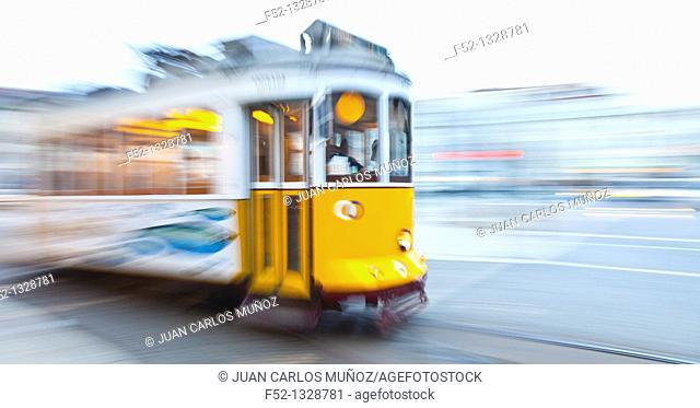 Tram in Figueira Square, Baixa District, Lisbon, Portugal