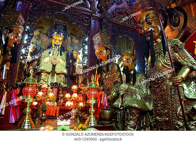 Jade Emperor Pagoda  Jade Emperor who preside Main Sanctuary. Ho Chi Minh City (formerly Saigon). South Vietnam