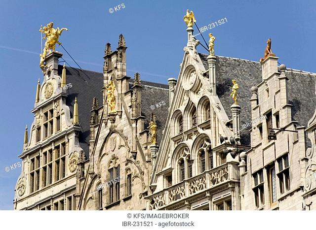 Former guild houses, pediments decoratet with figures, Grote Markt, Antwerp, Belgium