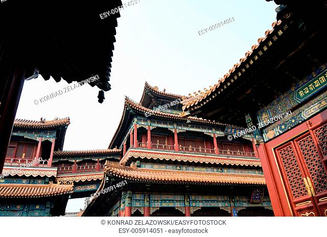 Pavilion of Eternal Happiness (Wanfu Ge) in Yonghe Temple also known as Palace of Peace and Harmony Lama Temple or simply Lama Temple in Beijing, China