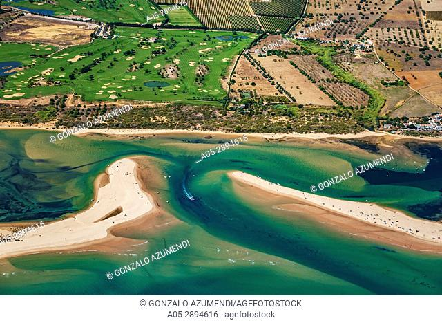Cacela Velha beaches and Quinta da Ria Golf course. Ria Formosa, natural park. Faro district. Algarve. Portugal