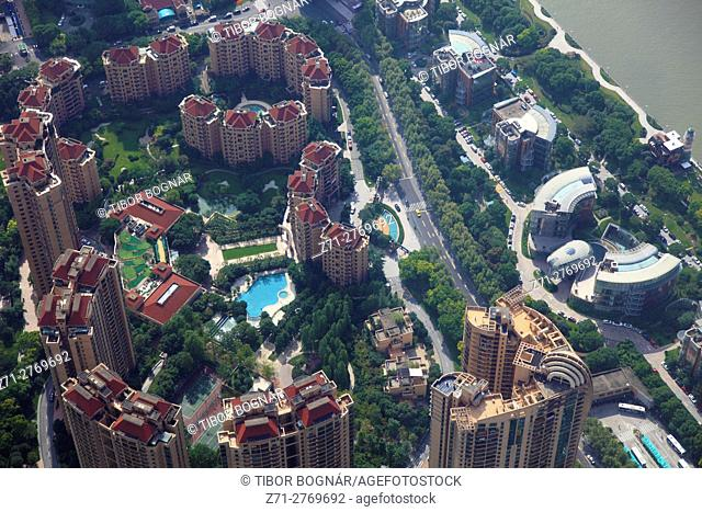 China, Shanghai, Pudong, residential area, aerial view,