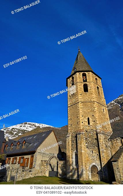 Salardu village church in Lerida Catalonia of Spain Pyrenees in Aran Valley