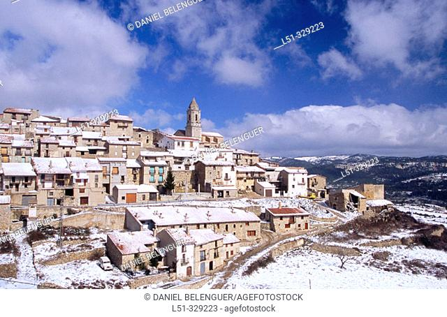 El Boixar (Tinença de Benifassà) snow covered. Castellon province, Spain