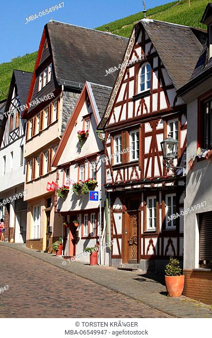 Half-timbered houses in the old town, Bacharach on the Rhine, Unesco world heritage Upper Middle Rhine Valley, Rhineland-Palatinate, Germany, Europe