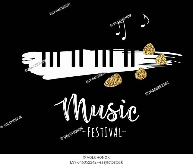 Vector illustration of a music design element in doodle style. Music festival. Grunge black and white piano keys