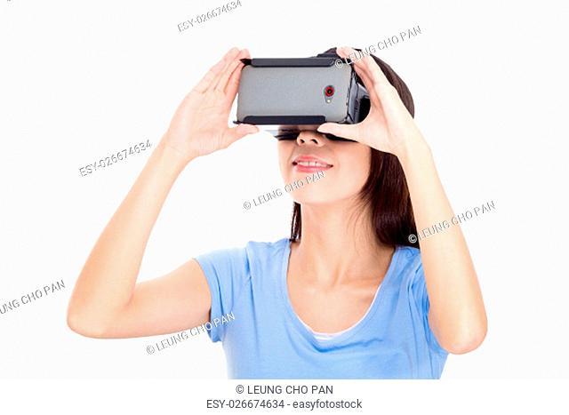 Asian woman watching with vr device