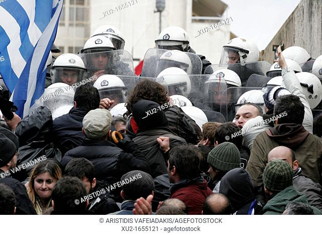 7 February 2012 Athens Greece  Protesters clash with riot police while tyring to enter the parliament during a 24-hour general strike