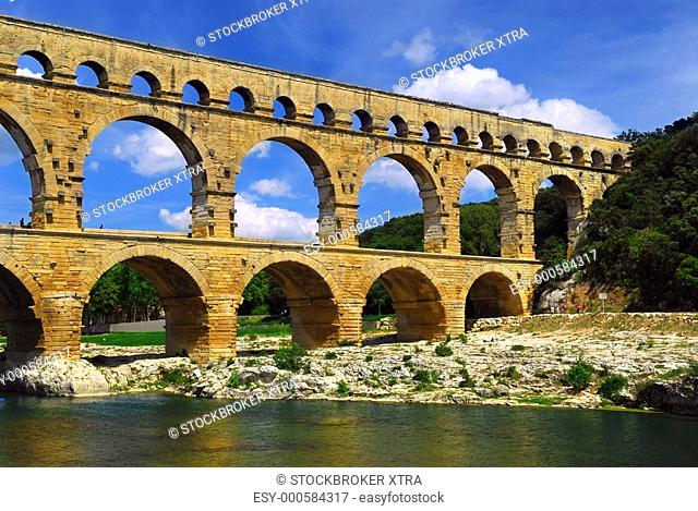 Pont du Gard is a part of Roman aqueduct in southern France near Nimes