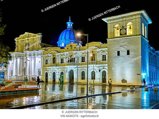 night shot of Cathedral Basilica of Our Lady of the Assumption and Torre del Reloj, Popayan, Colombia, South America - Popayan, Colombia, 27/08/2017