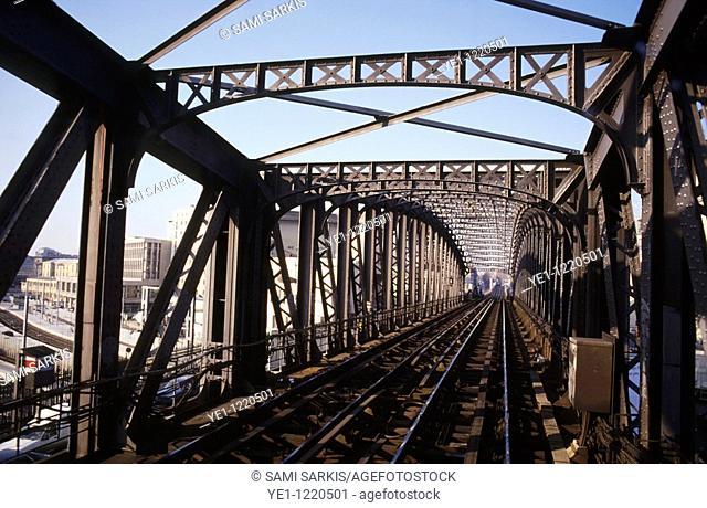 City railway bridge stands empty, Paris, France