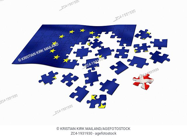 EU flag as puzzle with Danish flag Dannebrog as a distant piece