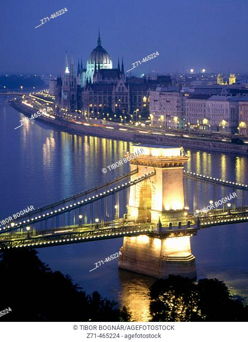 Chain Bridge, Danube River, Parliament. Budapest. Hungary