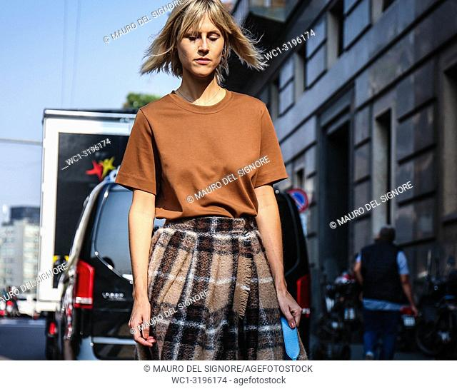 MILAN, Italy- September 20 2018: Linda Tol on the street during the Milan Fashion Week