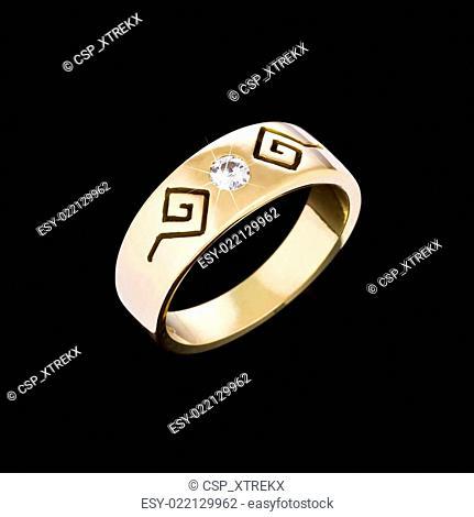 Gold Diamond ring on black background