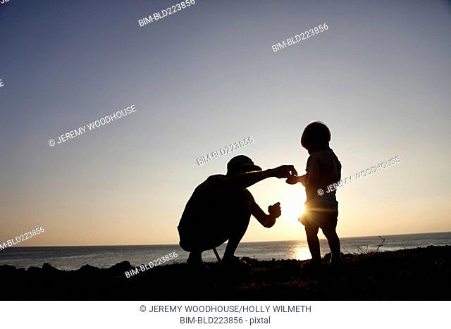Silhouette of father and son exploring at beach
