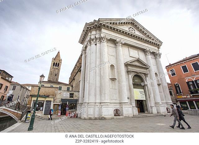 Venice Veneto Italy on January 19, 2019: Cityscape at a winter morning. Dorsoduro quarter