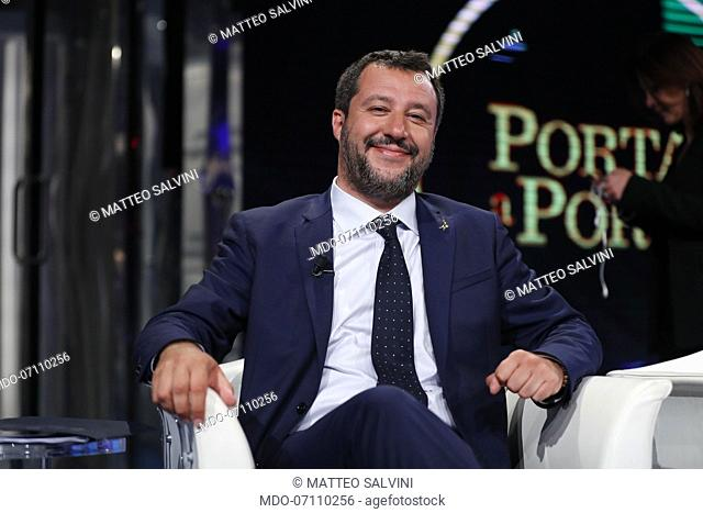 Italian politician Matteo Salvini during Porta a Porta tv show Porta a Porta. Rome, May 22th, 2019