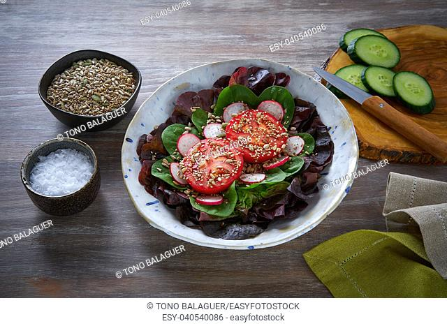 Tomato salad with seeds radish spinach and lettuces healthy food
