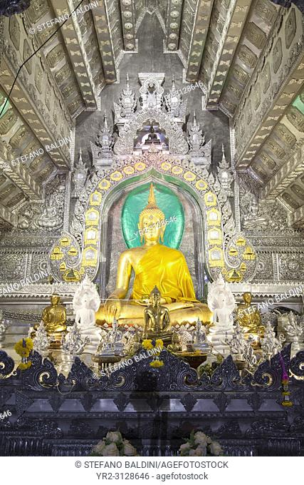 Interior of the Ubosot or ordination hall of Wat Sri Suphan, Chiang Mai, Thailand