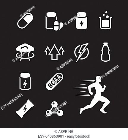 Sport supplements icons set. White on a black background