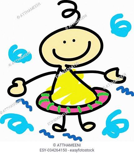 cartoon boy learn swimming hand-drawn