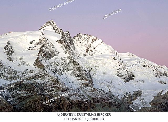 Grossglockner summit in morning light, High Tauern National Park, Carinthia, Austria