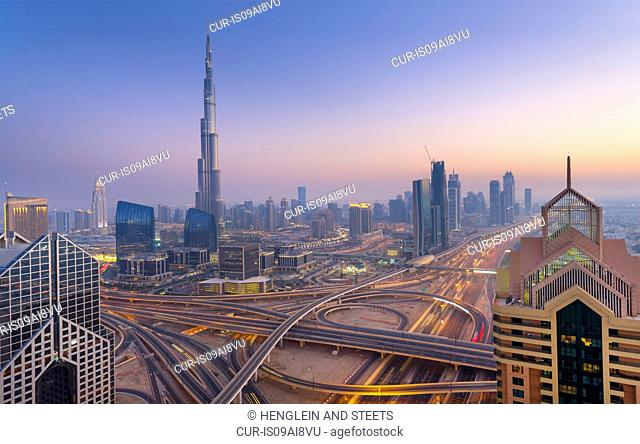 Downtown Dubai, Burj Khalifa at dawn, United Arab Emirates