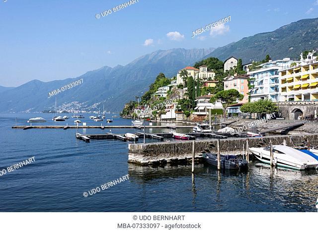 Waterfront and harbor basin Lungolago, Ascona, Lake Maggiore, Ticino, Switzerland