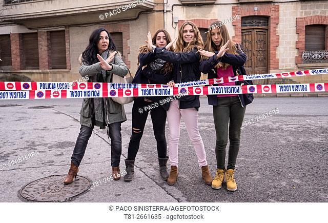 Girl stop traffic in Olite, Navarra, Spain