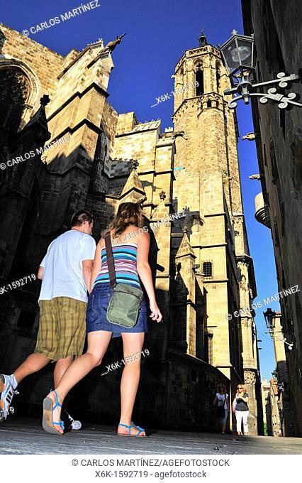 Parte posterior de la Catedral de Santa Eulàlia de Barcelona, estilo gótico, siglo XIII, Carrer dels Comtes, Barcelona, Catalunya, España