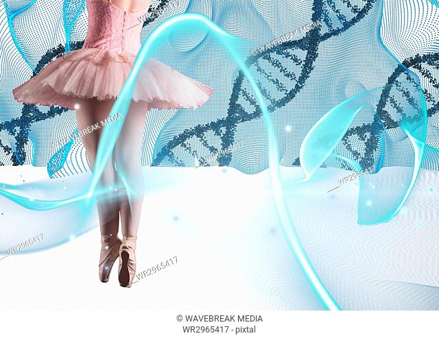 Ballet dancer with blue lights and DNA chains