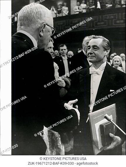 Dec. 12, 1967 - Nobel Prize Awards in Stockholm: At a ceremony in the Concert Hall, Stockholm, on Sunday (Dec 10), King Gustav Adolf of Sweden