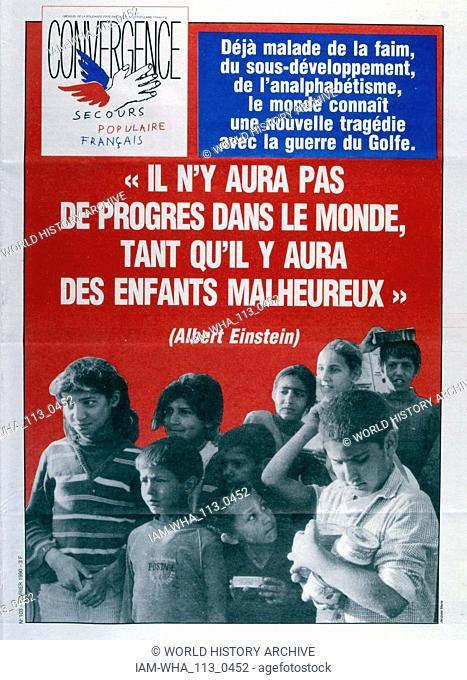 Report on the on the suffering of children as a result of the on-going Gulf War 1991 Front page of the French publication 'Convertgencen' February 1991