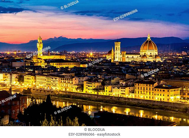 Panoramic sunset over cathedral of Santa Maria del Fiore in Florence, Italy