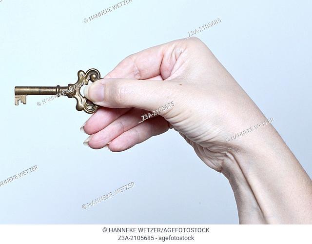 Hand With Key, Hand Gesture, Studio shot