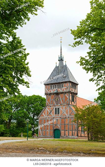 Historic half-timbered church St. Mariae (1618/1864) in Tripkau, Amt Neuhaus, Unesco Biospere reserve, Lower Saxony, Germany.