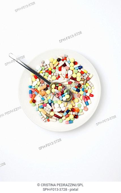 Plate with pills and spoon