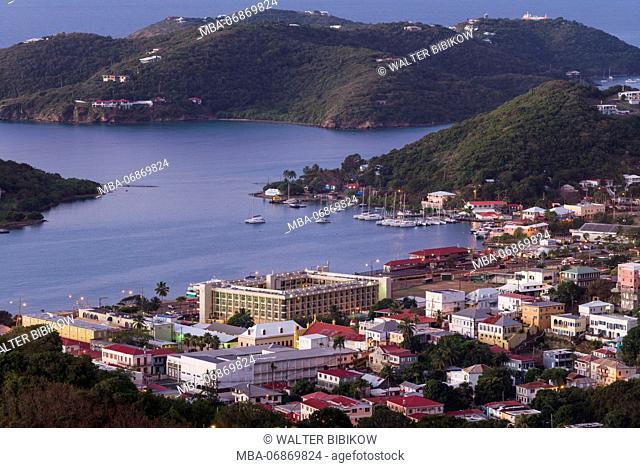 U.S. Virgin Islands, St. Thomas, Charlotte Amalie, elevated town view, dawn