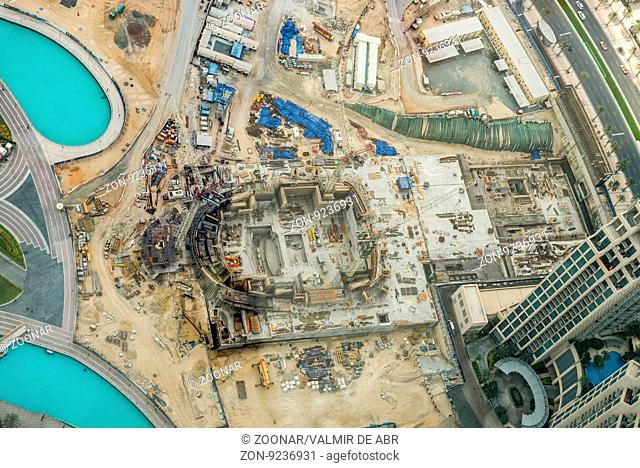 Dubai, United Arab Emirates - December 2, 2014: Aerial shot of a construction. Photo taken from the observation deck of the Burj Khalifa, Dubai