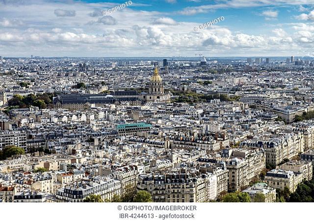 Paris cityscape with the Dome of Les Invalides, Paris, France