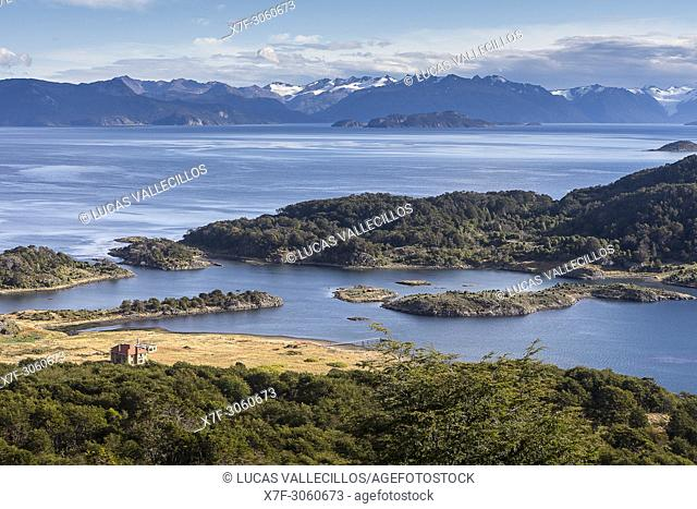 Panoramic view of Wulaia Bay, also called Caleta Wulaia, Navarino Island,Tierra de Fuego, Patagonia, Chile