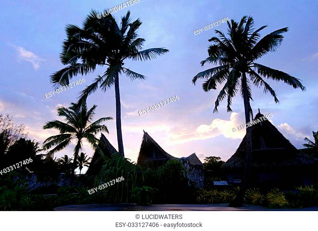 Silhouette of beach bungalows on Polynesian tropical pacific ocean Island.Photo by Rafael Ben-Ari/Chameleons Eye