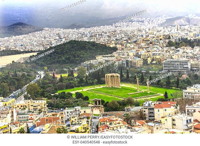 Ancient Temple Zeus Greek Marketplace From Acropolis Athens Greece. Temple of Hephaestus and Long Stoia of Attalus