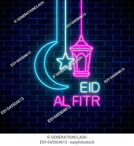 Eid al fitr greeting card with with fanus lantern, star and crescent. Glowing neon ramadan holy month sign on dark brick wall background