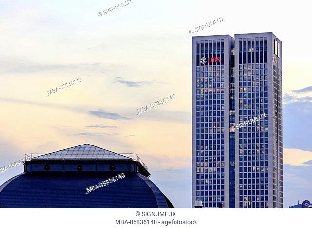 Europe, Germany, Hessia, Frankfurt, financial district with the opera tower and the vault roof of the stock exchange in the foreground