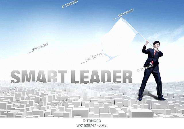 a business man next to the word smart leader