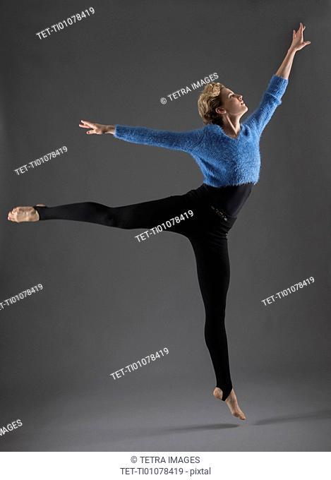 Studio shot of female ballet dancer