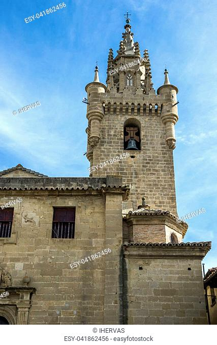 Bell tower of the Church of Santa Maria, in Uncastillo, Zaragoza, Spain. It was built between 1135 and 1155 in Romanesque style
