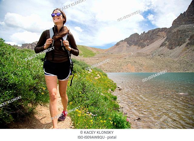 Happy hiker, Cathedral Lake, Aspen, Colorado